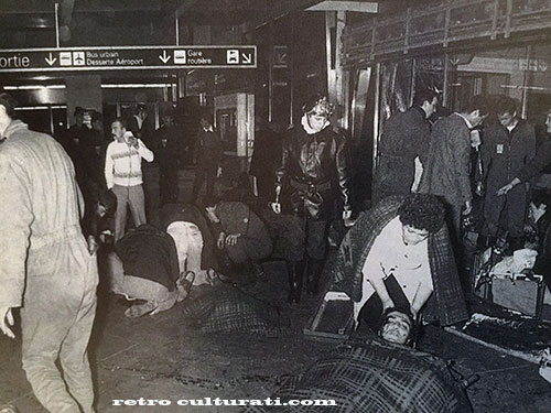 The aftermath of the St Charles railway bombing in Marseille. New Year's Eve 1983.